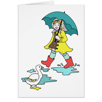 Rainy Day Red Galoshes with Duck & Umbrella Card