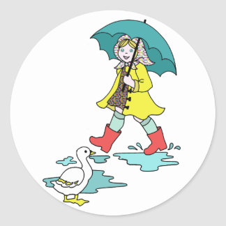 Rainy Day Red Galoshes with Duck & Umbrella Classic Round Sticker