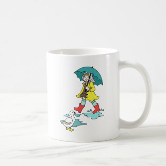 Rainy Day Red Galoshes with Duck & Umbrella Coffee Mug