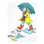 Rainy Day Red Galoshes with Duck & Umbrella Announcement