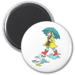 Rainy Day Red Galoshes with Duck & Umbrella Refrigerator Magnet