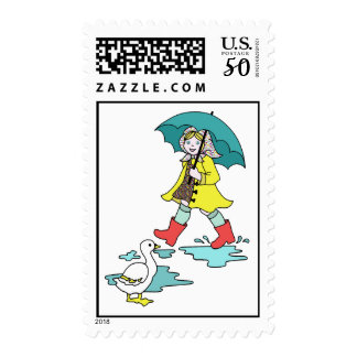 Rainy Day Red Galoshes with Duck & Umbrella Postage