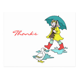 Rainy Day Red Galoshes with Duck & Umbrella Postcard