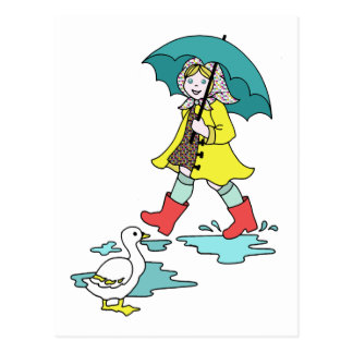 Rainy Day Red Galoshes with Duck & Umbrella Post Cards