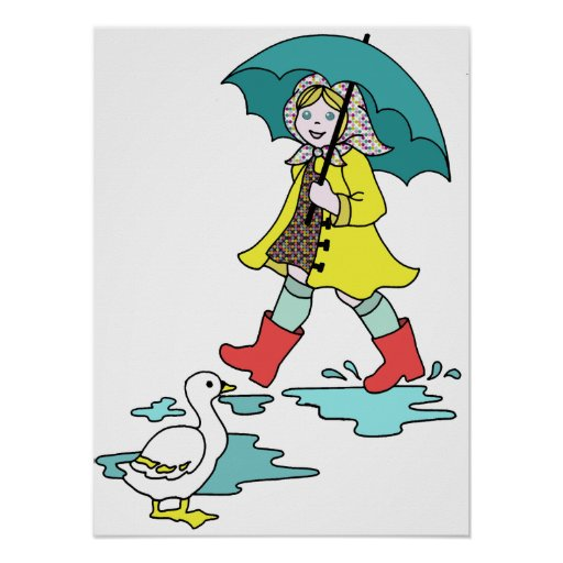 Rainy Day Red Galoshes with Duck & Umbrella Poster