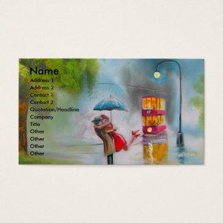 Rainy day red tram romantic couple umbrella business card