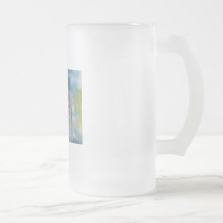 Rainy day red tram romantic couple umbrella frosted glass beer mug