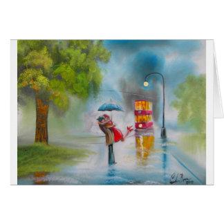 Rainy day red tram romantic couple umbrella greeting card