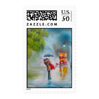 Rainy day red tram romantic couple umbrella postage