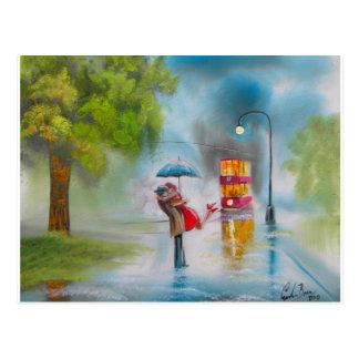 Rainy day red tram romantic couple umbrella postcard