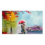 RAINY DAY RED UMBRELLA ROMANTIC COUPLE BUSINESS CARD