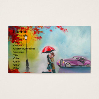 RAINY DAY RED UMBRELLA ROMANTIC COUPLE BUSINESS CARD