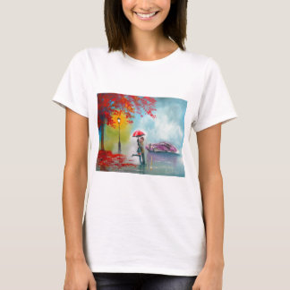 RAINY DAY RED UMBRELLA ROMANTIC COUPLE T-Shirt