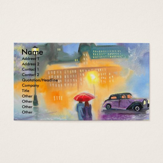 Rainy day red umbrella romantic couple walk business card