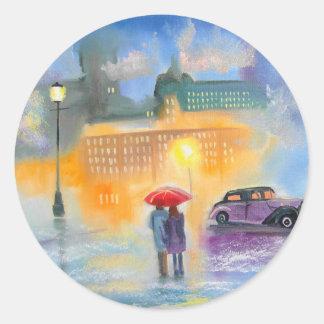 Rainy day red umbrella romantic couple walk classic round sticker