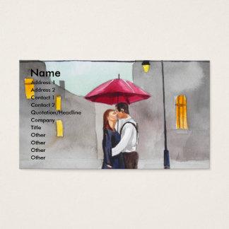 RAINY DAY RED UMBRELLA street scene PAINTING Business Card