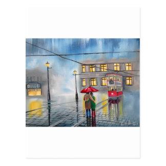 RAINY DAY RED UMBRELLA street scene PAINTING Postcard