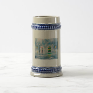 Rainy day red umbrella tram couple painting beer stein