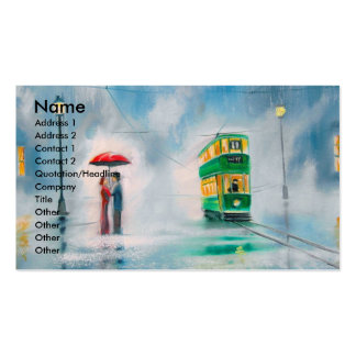 Rainy day red umbrella tram couple painting business card