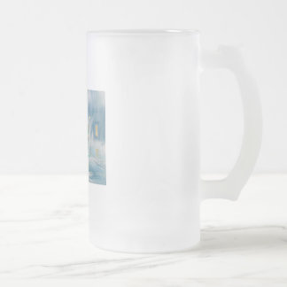 Rainy day red umbrella tram couple painting frosted glass beer mug