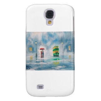 Rainy day red umbrella tram couple painting galaxy s4 cover