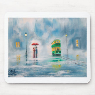Rainy day red umbrella tram couple painting mouse pad