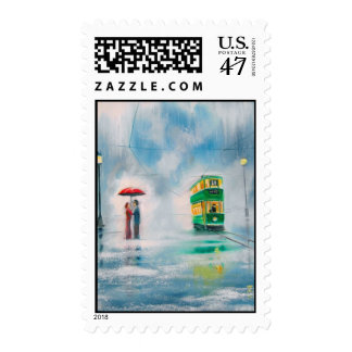 Rainy day red umbrella tram couple painting postage