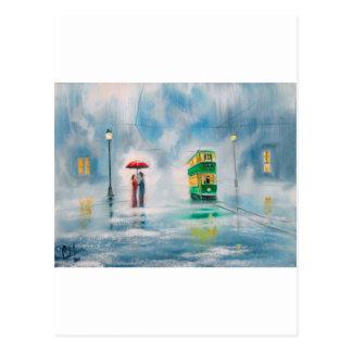 Rainy day red umbrella tram couple painting postcard