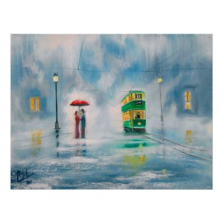 Rainy day red umbrella tram couple painting poster