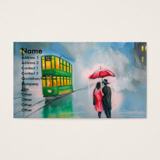 RAINY DAY RED UMBRELLA tram street scene PAINTING Business Card