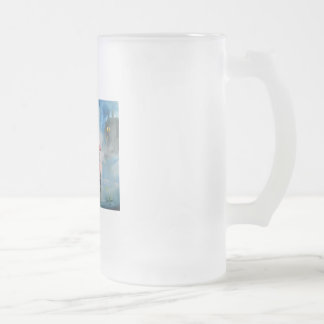 RAINY DAY RED UMBRELLA tram street scene PAINTING Frosted Glass Beer Mug