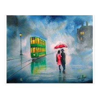 RAINY DAY RED UMBRELLA tram street scene PAINTING Postcard
