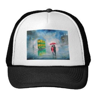 RAINY DAY RED UMBRELLA tram street scene PAINTING Trucker Hat
