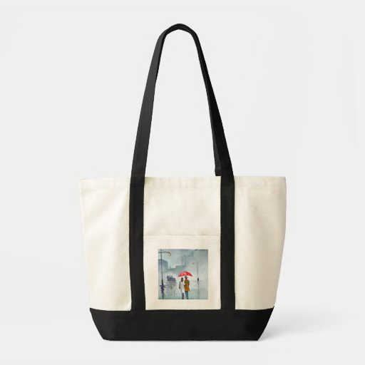 Rainy day romantic couple red umbrella painting tote bags