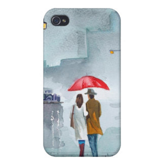 Rainy day romantic couple red umbrella painting iPhone 4 cases
