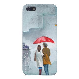Rainy day romantic couple red umbrella painting iPhone SE/5/5s case