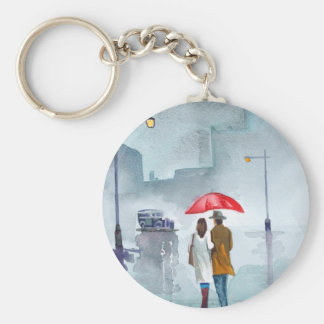 Rainy day romantic couple red umbrella painting keychain