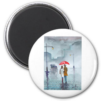 Rainy day romantic couple red umbrella painting magnet
