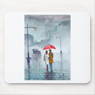 Rainy day romantic couple red umbrella painting mouse pad