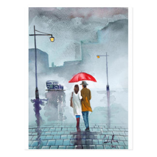 Rainy day romantic couple red umbrella painting postcard