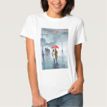 Rainy day romantic couple red umbrella painting t-shirt