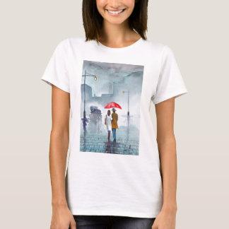Rainy day romantic couple red umbrella painting T-Shirt