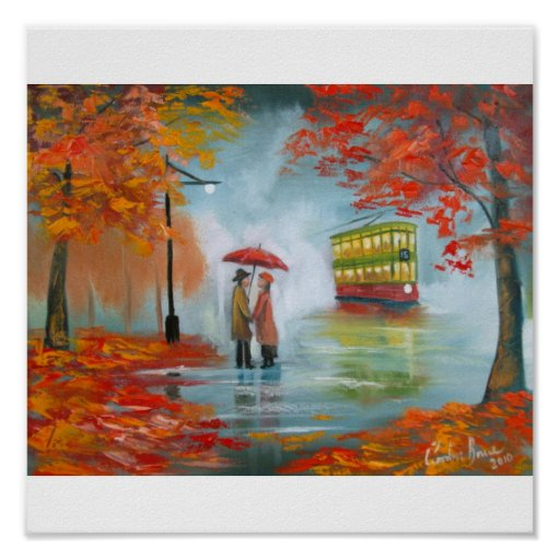 Rainy day romantic couple tram autumn poster