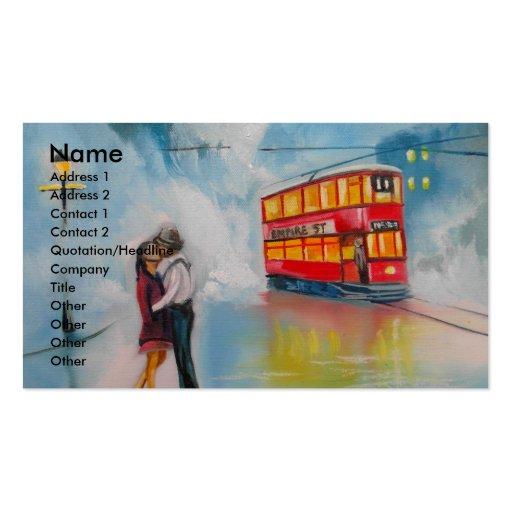 RAINY DAY ROMANTIC COUPLE TRAM romantic couple Business Card