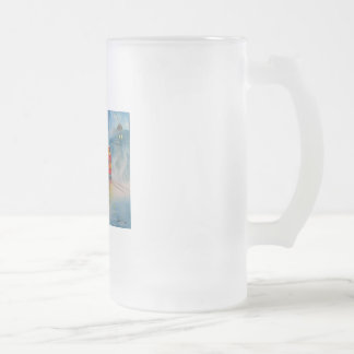 RAINY DAY ROMANTIC COUPLE TRAM romantic couple Frosted Glass Beer Mug