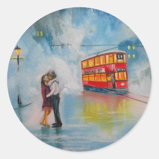 RAINY DAY ROMANTIC COUPLE TRAM romantic couple Round Sticker