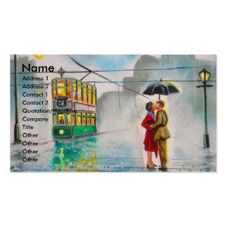 rainy day romantic couple umbrella tram painting business card