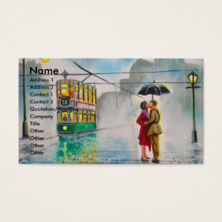 rainy day romantic couple umbrella tram painting business card