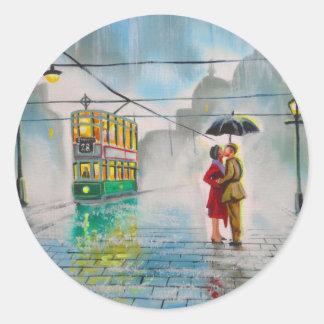 rainy day romantic couple umbrella tram painting classic round sticker