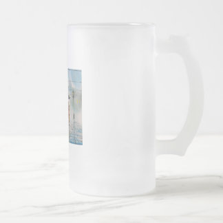 rainy day romantic couple umbrella tram painting frosted glass beer mug